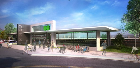 An artist's rendering of the proposed Mimico station entrance. May not reflect current/future plans. Image courtesy Metrolinx