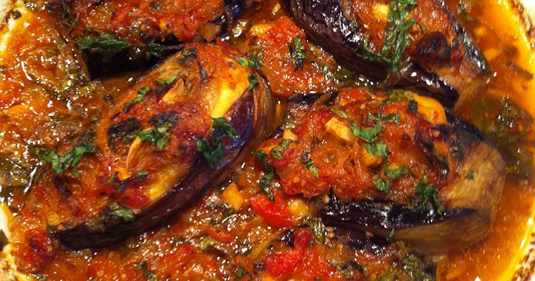 Stuffed Eggplants with Onion and Garlic (Patllixhan me Qepë dhe Hudhra)