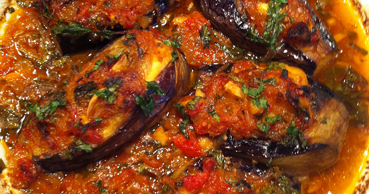 Stuffed Eggplants with Caramelized Onions (Patllixhan me Qepë dhe Hudhra)