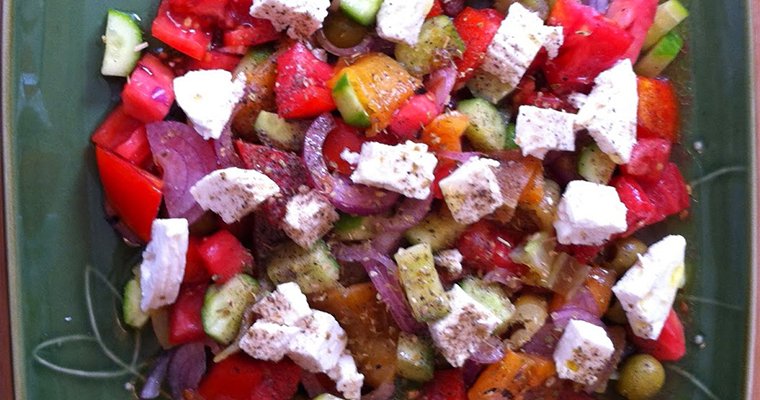 Tomato Cucumber Roasted Pepper Salad Featured