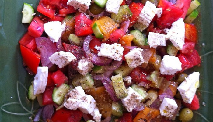 Tomato Cucumber Roasted Pepper Salad Cropped