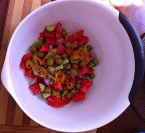 Tomato Cucumber Roasted Pepper Salad Prep