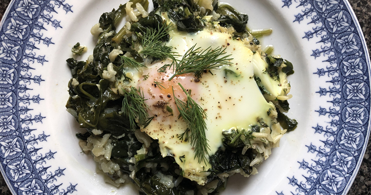Poached Egg Over Rice Spinach Featured