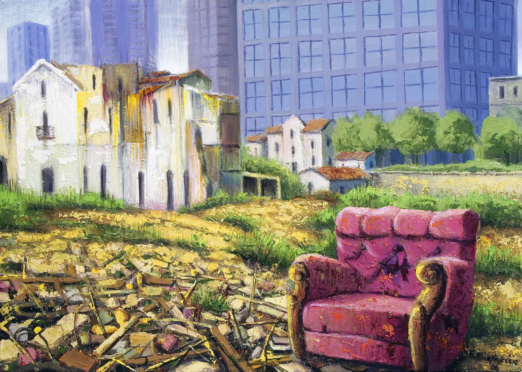 Franco Migliaccio Discarica Abusiva, 2006 Tecnica mista su tela 50x70