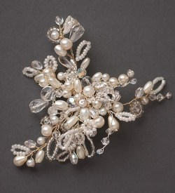 Pearl and crystal brooch