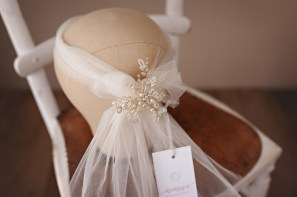 Albertine Brooch with Bandeau Bow Veil