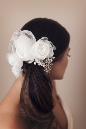 satin flower bridal headpiece