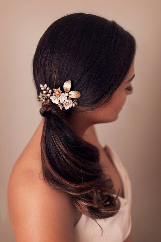 gold pink bridal flower hair pin