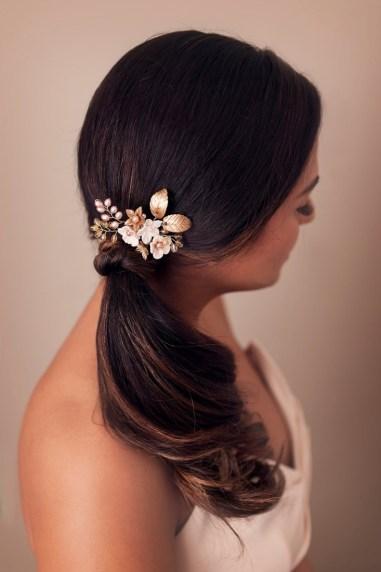 gold pink bridal flower hair pin