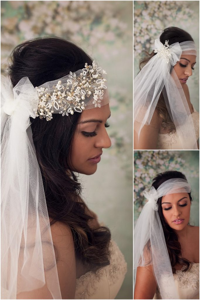 bohemian bridal veil headband
