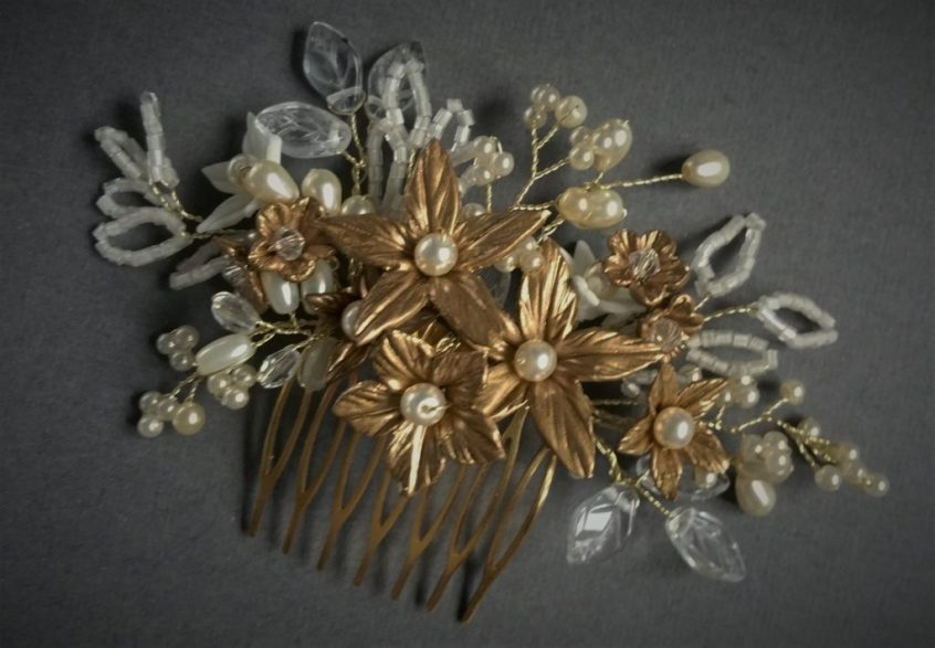 Bridal Hair Comb Gold Flowers