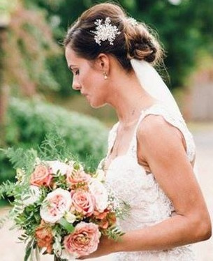Pearl cluster bridal hair pin