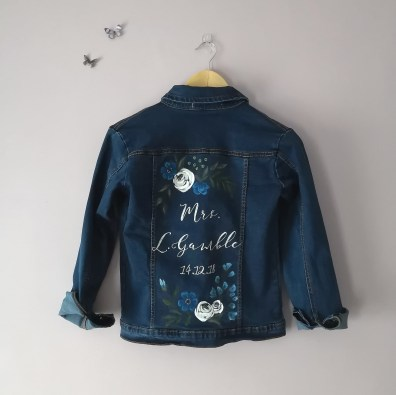 bridal jacket bespoke calligraphy