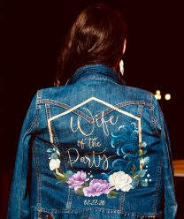 custom painted bridal denim jacket