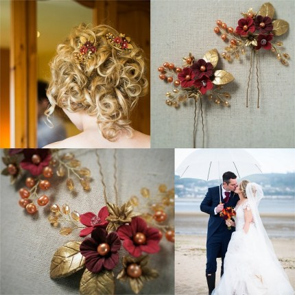 red and gold bespoke bridal hair pin