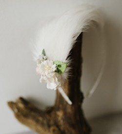 bridal feather crescent headpiece