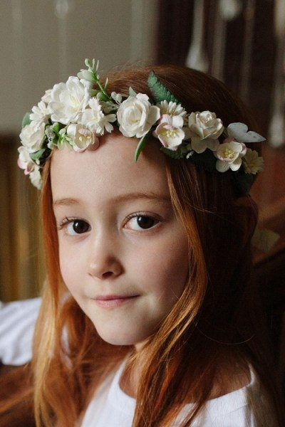 Ivory paper flower crown