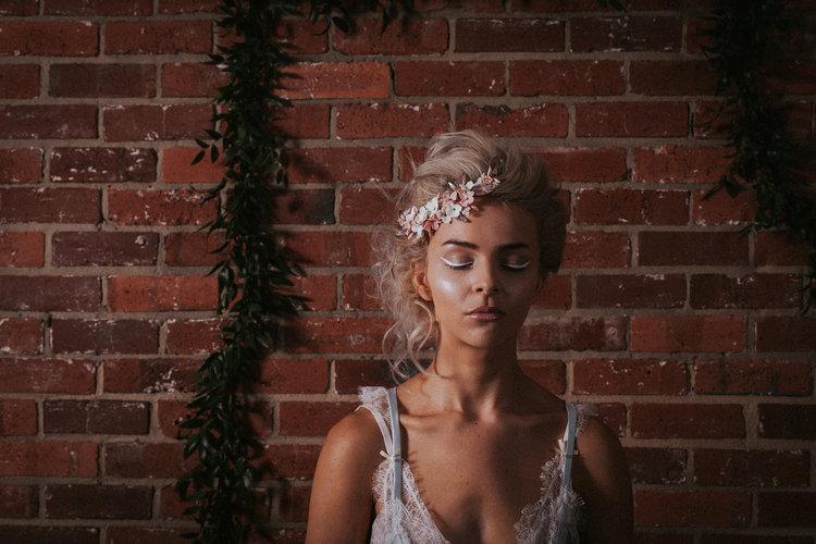 pink bridal flower headpiece