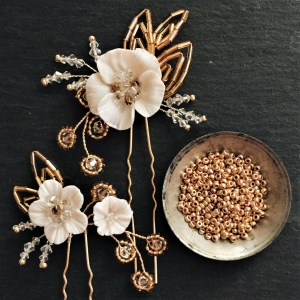 Gold and Ivory Flower head piece