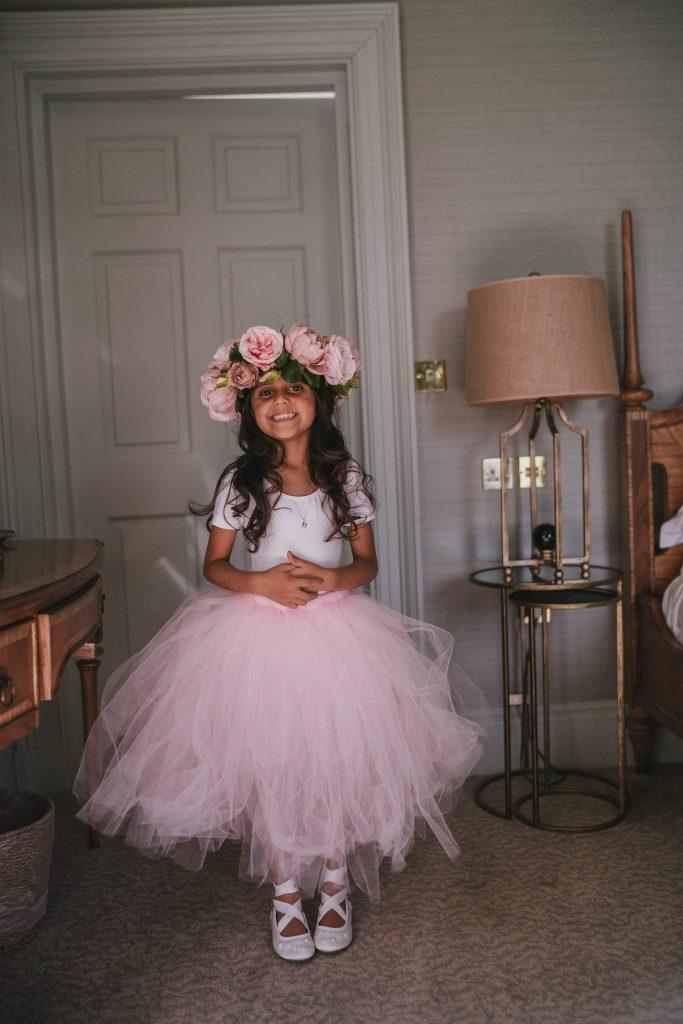 pale pink tutu flower girl skirt