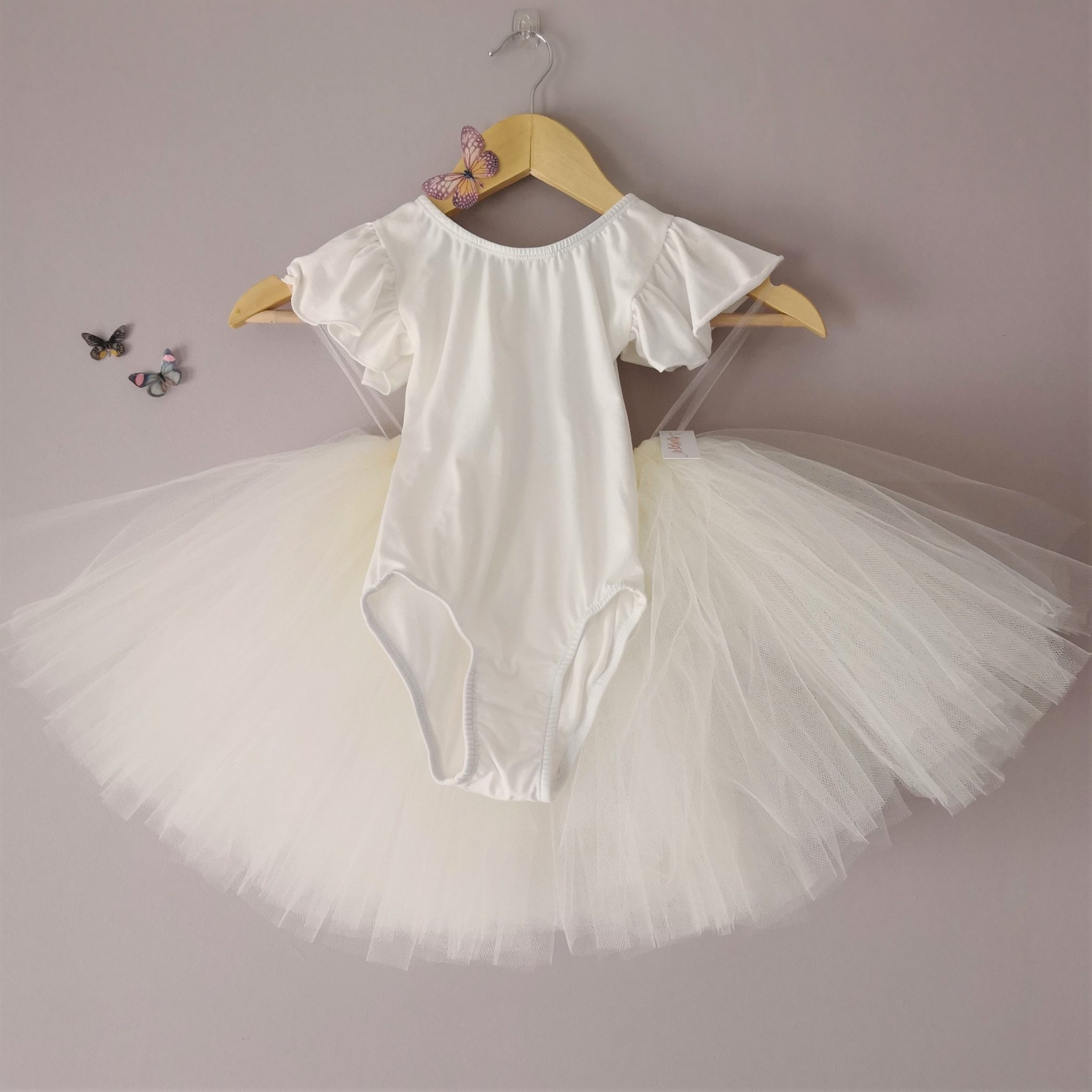 9c4d869ca4 Plain Stretch Cotton Frill Sleeve Bridesmaid and Flower Girl s Leotard  Bodysuit. Ivory and White