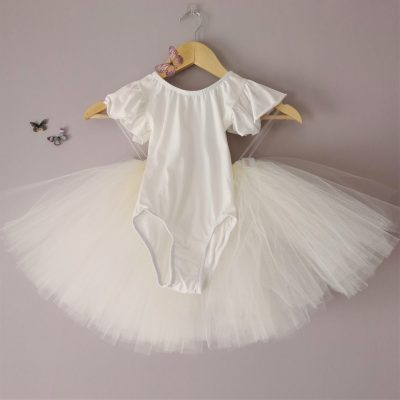 ivory frill sleeve girls leotard
