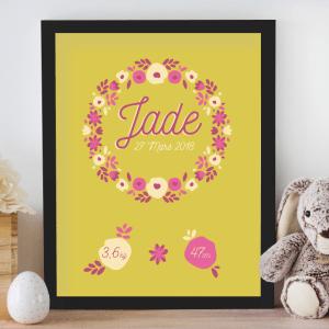 Affiche de naissance personnalisée pour chambre de bébé ou enfant - Cadeau de naissance, affiche couronne de fleurs