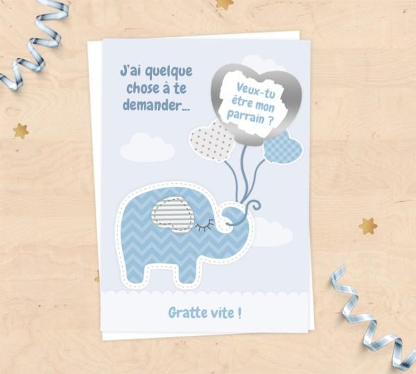 Carte à gratter demande de parrain, cadeaux parrain pour baptême - Collection doudou éléphant