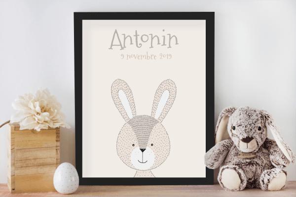 Affiche de naissance personnalisée pour chambre de bébé/enfant - Cadeau de naissance, affiche animaux style crayonnés lapin, tigre ou ours