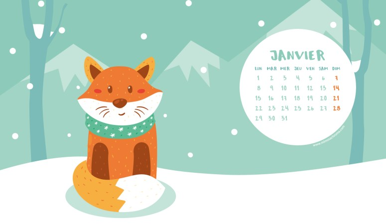 Calendrier de Janvier 2018 (Freebies & Printable)