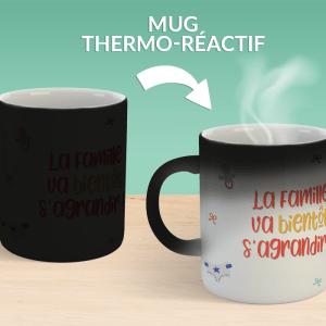 """Mug magique annonce de grossesse surprise, mug thermo-réactif avec message """"La famille va bientôt s'agrandir !"""""""