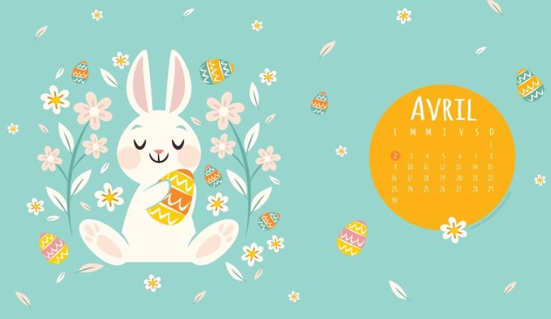 Calendrier d'Avril 2018 (Freebies & Printable) et printable spécial Pâques !