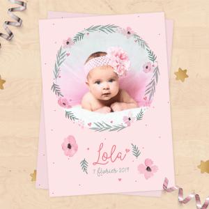 Faire-part de naissance personnalisable fille - Collection rose pastel