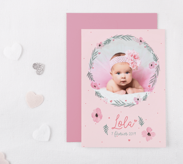 Faire-part de naissance personnalisable fille - Collection rose pastel