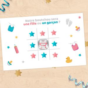 Mini carte à gratter annonce grossesse, sexe du bébé, fille ou garçon - style morpion