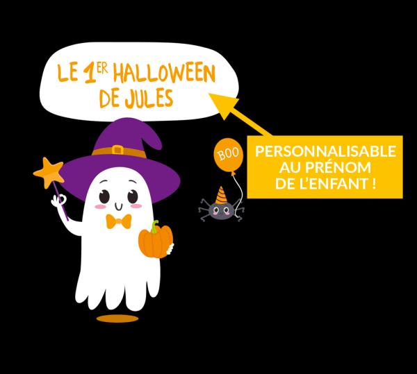 """Body personnalisable bébé Halloween """"Mon 1er Halloween"""", fantôme et araignée"""