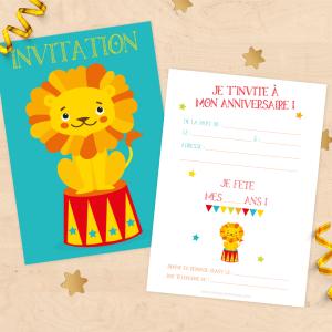 Cartons d'invitation anniversaire enfant - Thème lion de cirque