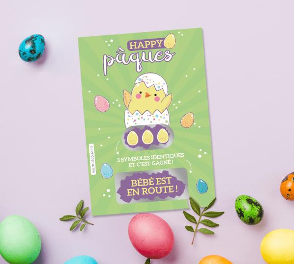 Carte à gratter annonce grossesse - Style ticket de jeu à gratter spécial Pâques