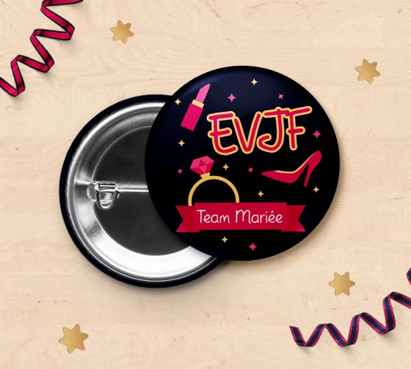 Badge pour EVJF - Team mariée pour fête enterrement de vie de jeune fille