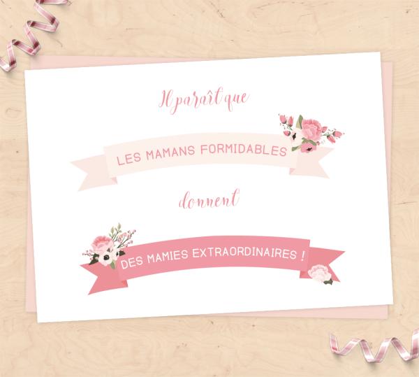 Carte pour fête des mères, annonce grossesse grand-parents - Les mamans formidables donnent des mamies extraordinaires !