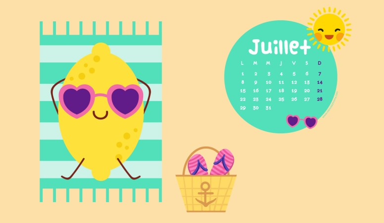 Calendrier de Juillet 2019 (Freebies & Printable)
