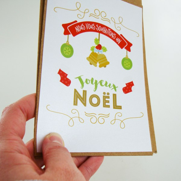 Carte de Noël et nouvel an papier irisé et kraft - Carte de voeux noel traditionnel