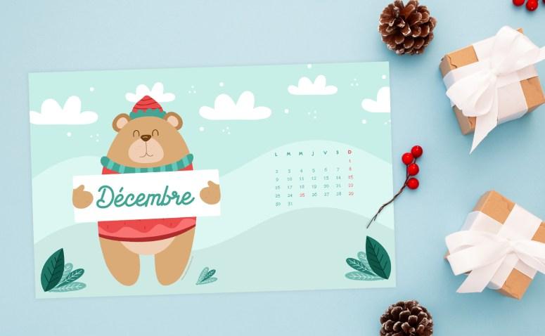 Calendrier Décembre 2019 à télécharger