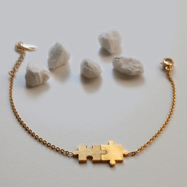 pulsera puzzle dorada güell