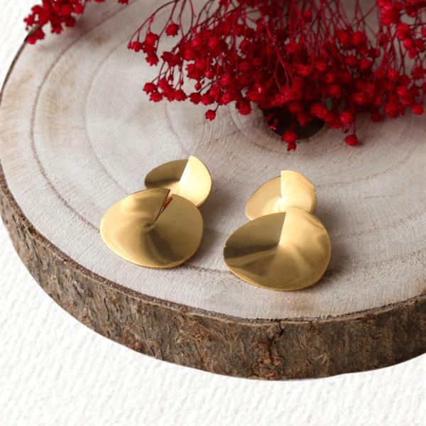pendientes geométricos dorados