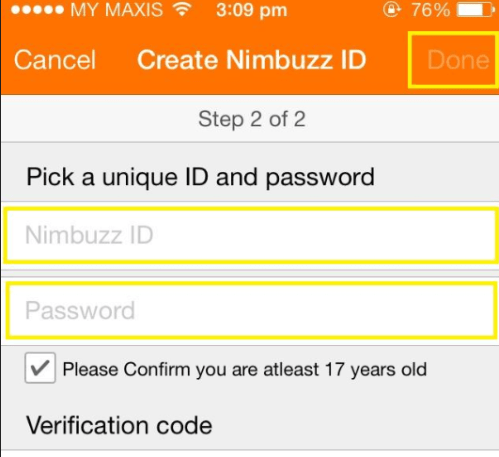 Create Nimbuzz Account