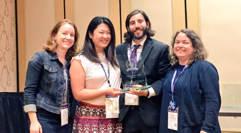 AILA NorCal Chair Olivia Lee (second of left) with other chapter leaders accepting the Platinum Chapter Award.​