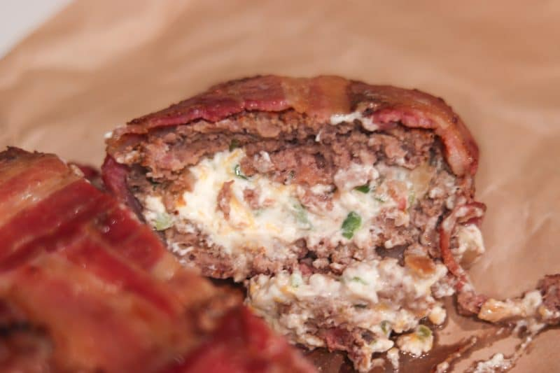 Bacon Wrapped Jalapeno Popper Meatloaf | A #lowcarb and #keto friendly meatloaf wrapped in a bacon weave! | mincerepublic.com