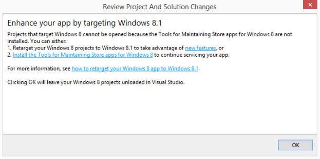Retarget Store App from Windows 8 to 8.1