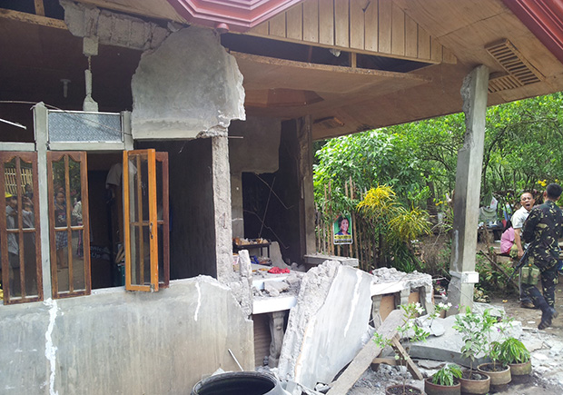 DAMAGED. One of the damaged houses in Barangay Kimadzil, Carmen, North Cotabato following the magnitude 5.7 magnitude earthquake on Saturday night. Photo courtesy of the Office of the Provincial Governor